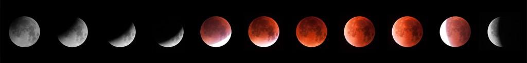 Phases d'occultation successives de la lune le 28 septembre 2015