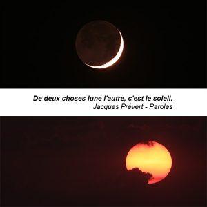 D'un coté, le lever de la lune, de l'autre, le coucher du soleil.